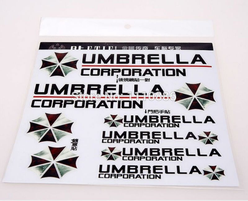 Newest 3D Resident Evil Umbrella Corporation Car Styling Decal Decoration Stickers for Tesla Toyota Chevrolet Volkswagen