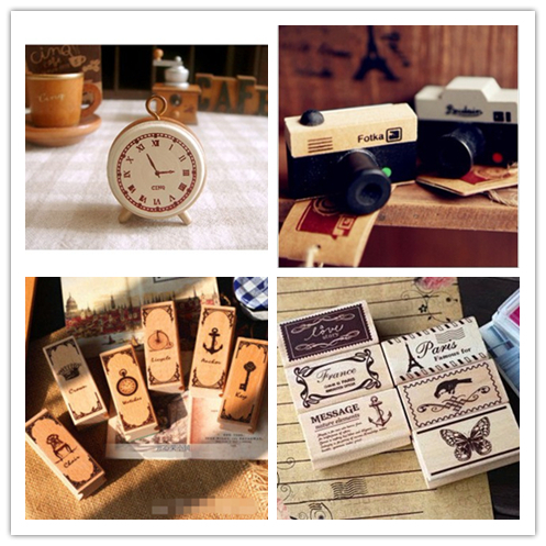 DIY Vintage Retro Wooden Stamp Old Ancient Camera Bicycle Crown Key Butterfly Stamps for Decor Scrapbooking