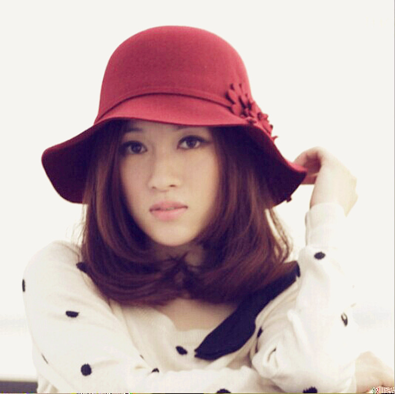 Korean wool hat autumn winter flower pots hat dome wine red hat lady fashion hat(China (Mainland))
