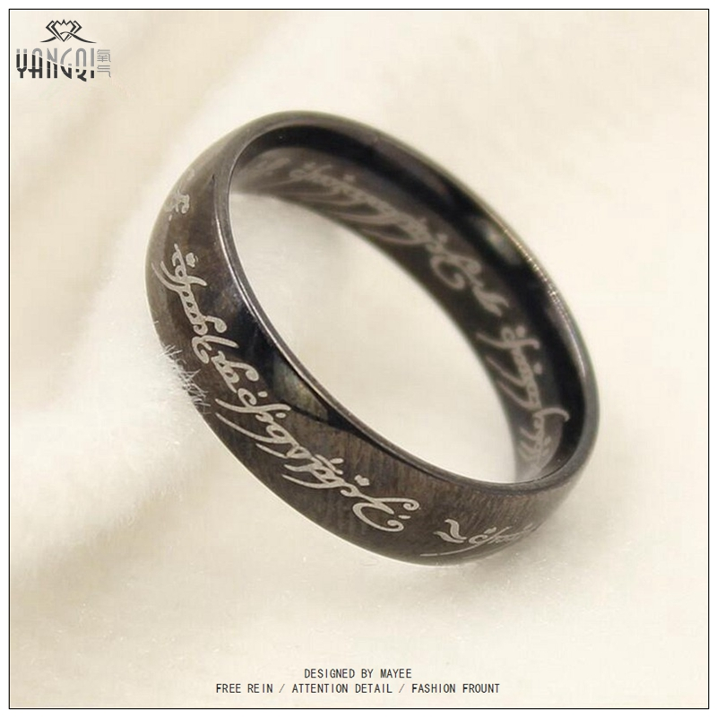 hobbit letter rings gold silver black stainless steel the lord one rings titanium steel 6mm men - The One Ring Wedding Band