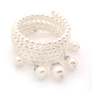 Colour bride pearl bracelet white plummeted marriage accessories bangle - Fashion ACC store