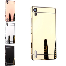 Vibe Shot Mirror Case Plating Metal Frame with Back Cover Hard Case for Lenovo Vibe Shot Z90-3 Z90-7 5.0'' Phone Shell Cover