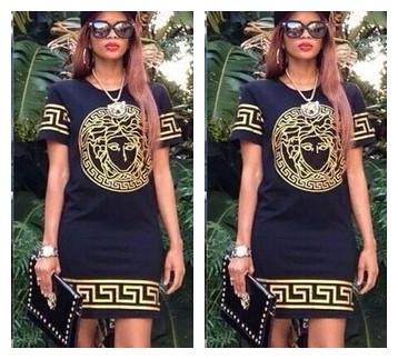 2015 Sexy women summer dress Fashion Women vers- ce brand dresses short Sleeves with originla logo free shipping(China (Mainland))