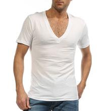 Plus Size Undershirt Men Dress Shirt  Deep V Neck Fanila T Shirt Camiseta Hombre Cotton Ondergoed Sexy White 4XL 5XL 6XL G 2458(China (Mainland))