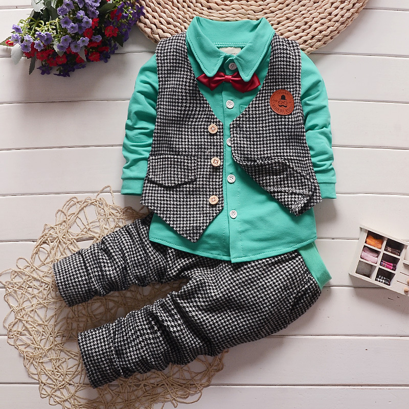 2016 spring fashion gentleman baby clothes suit boys tie vest t-shirt pant 3pcs set children clothing sets kids outfits suit(China (Mainland))