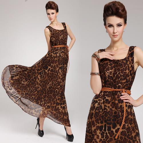 2015 Summer new loose dress women, waist round neck silk leopard leopard print dresses plus size maxi long floor length dress(China (Mainland))