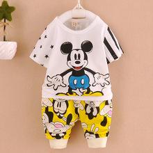 2Pcs Cute Mouse Baby Boy Summer Costume Sets Infant/Toddler/Kid/Children T-shirt + Beach Short Pants Outfits 12M-4T Free Ship