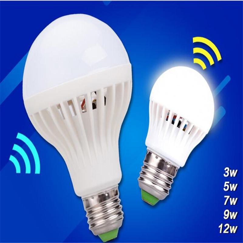 Motion Sensor LED Bulb E27Infrared Bulbs 5W 7W 9W 12W Light Smart LED Lamp AC220V White for Home Lighting Garage Stairs(China (Mainland))