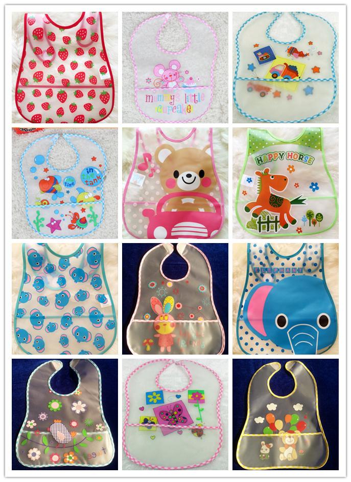 17Kind Infant/Baby/Kid/Child Transparent EVA Bibs With Button/Velcro Waterproof/Leakproof Pocket Babador Bandana bebe Wholesale(China (Mainland))