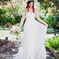 Robe De Mariage A Line Bohemian Wedding Dreses Pleats High Waist Wedding Bridal Gowns