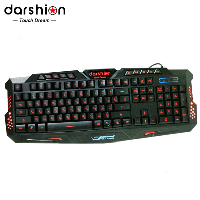 Russian backlit keyboard LED Switch 3-Color USB Wired breathing Waterproof gaming keyboard for dota 2 lol cs Free shipping(China (Mainland))