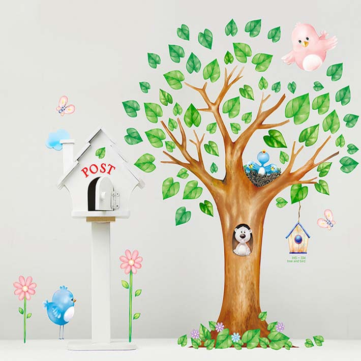 Slaapkamer Raam Kopen : Large Wall Stickers Trees with Birds