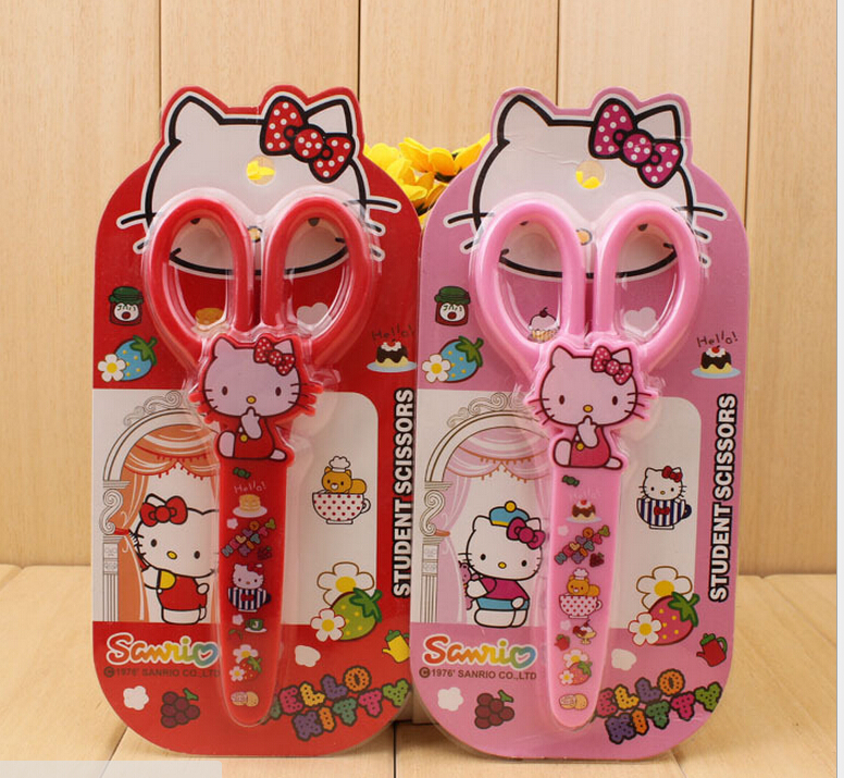 1pcs Hello Kitty 14CM School Kid's Stationery Scissors Paper Cut Baby Kid's Student Safe Scissors Knives Cutters Forfex(China (Mainland))