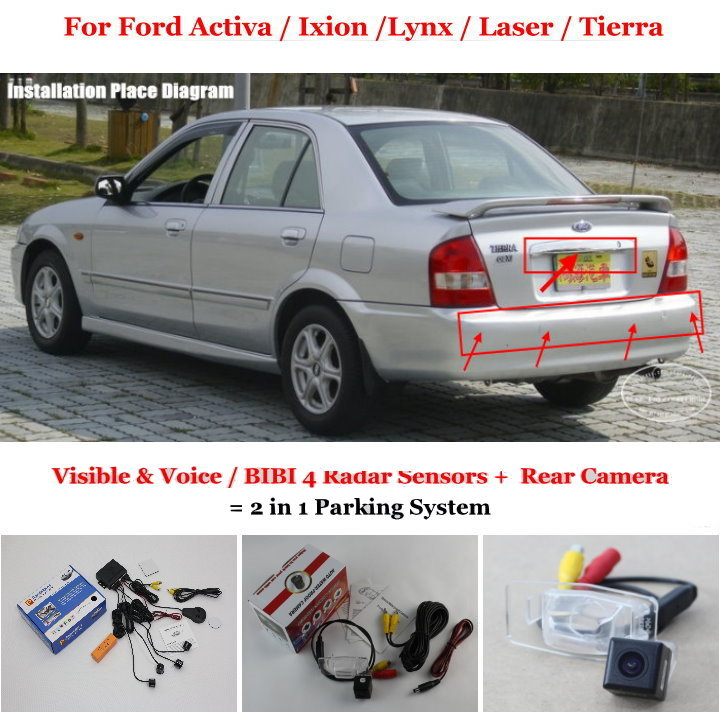 For Ford Laser / Tierra - Car Parking Sensors + Rear View Back Up Camera = 2 in 1 Visual Alarm Parking System(China (Mainland))