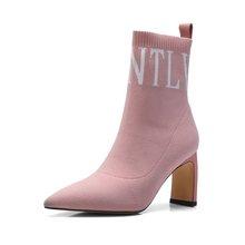 ZVQ căng Đan mắt cá chân Giày bốt thời trang nữ mũi nhọn trơn trượt vào ngày mùa đông Đảng Giày gợi cảm lạ Giày cao gót mùa đông sock giày(China)
