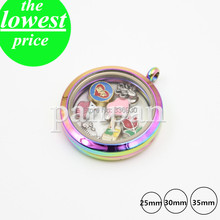Panpan 25mm 30mm 35mm 316L Stainless steel magnetic  rainbow floating locket plain face(China (Mainland))