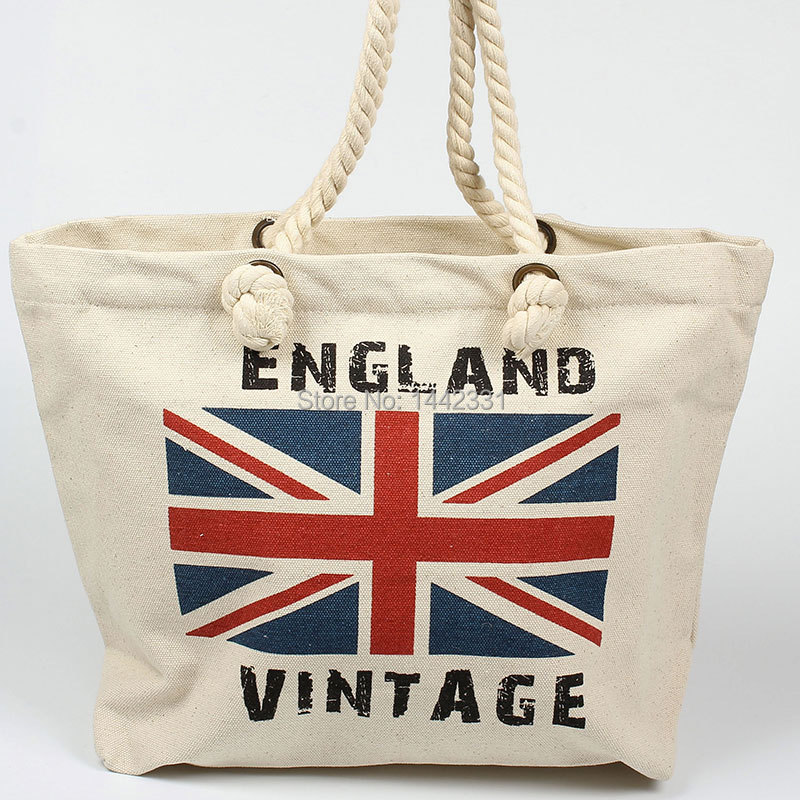 "New big 18"" long canvas Women Lady Tote Shopping Bag handbag the Union Jack stripe England Flag fashion Cute zipper(China (Mainland))"