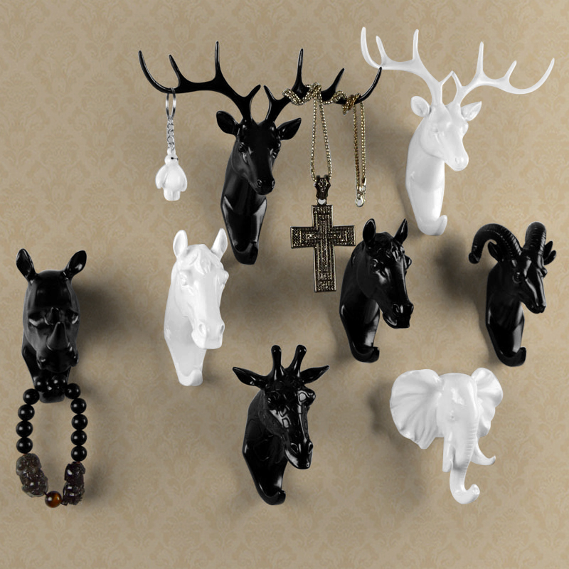 Pure color black/white/gold animal head hook resin craft key/cap/clothes claw 3D animal Mural decorative hook ornament hanger(China (Mainland))