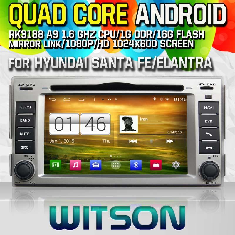 WITSON Android 4.4 CAR DVD Player for HYUNDAI SANTA FE/ELANTRA GPS Navi Car Stereo Radio DVD Player mp3 Bluetooth mirror link(China (Mainland))
