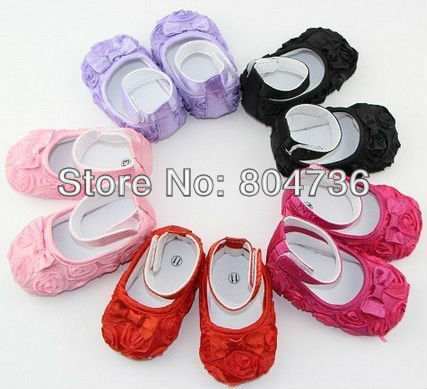3 pairs/ 1ot  Free shipping! Infant Baby Toddler Rose flower Crib Soft Shoe Plain Style 0-18Month 6 colors