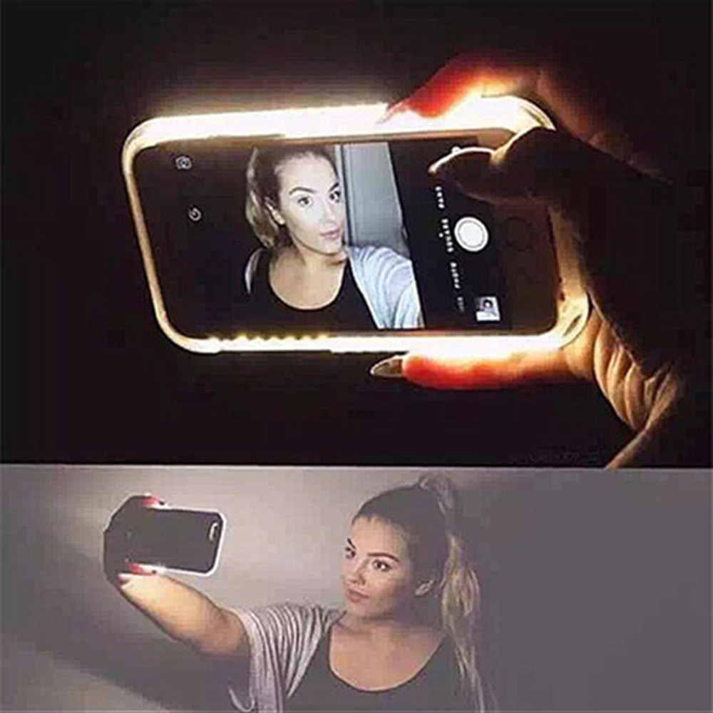 Luxury led selfie Phone Case Cover For iPhone 6 6s 4.7 Plus 5 5S SE For Samsung galaxy s6 s7 Fashion Back Protection Cover(China (Mainland))