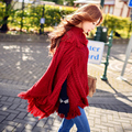 dabuwawa sweater coat poncho 2016 women s new autumn winter semi turtleneck tassel fringed shawl cloak