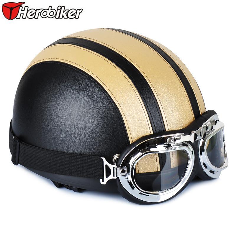 HEROBIKER Half Face Motor scooter Helmets Artificial Leather Motorcycle Motorbike helmet Cross-country motorcycle helmet(China (Mainland))