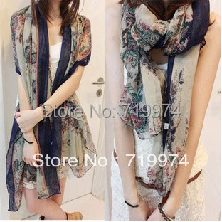 2014 Womens Fashion Style Scarf Scarves For Woman Cotton Voile Floral Printing Scarfs Beach Towel Wholesale Pashmina Shawls s024