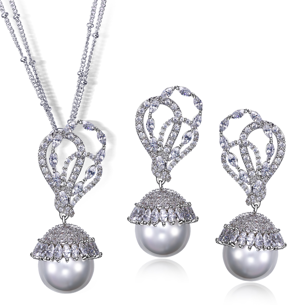 New Engagement Women Jewelry Sets Gold/Platinum Plated Luxury Cubic Zirconia Stone Lmitation Pearil 2Pcs Sets Necklace+Earrings(China (Mainland))