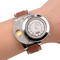 Flameless Windproof and Rechargeable Electronic No Gas Cigarette Lighter with Leather Watchband and Red LED Light