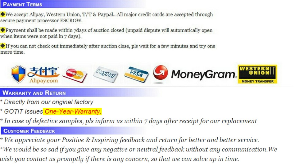 Payment Warranty Customer Feedback