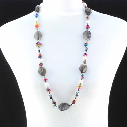 Long chain necklace women long semi precious turquoise stone strands chain necklace ,NL-896(China (Mainland))