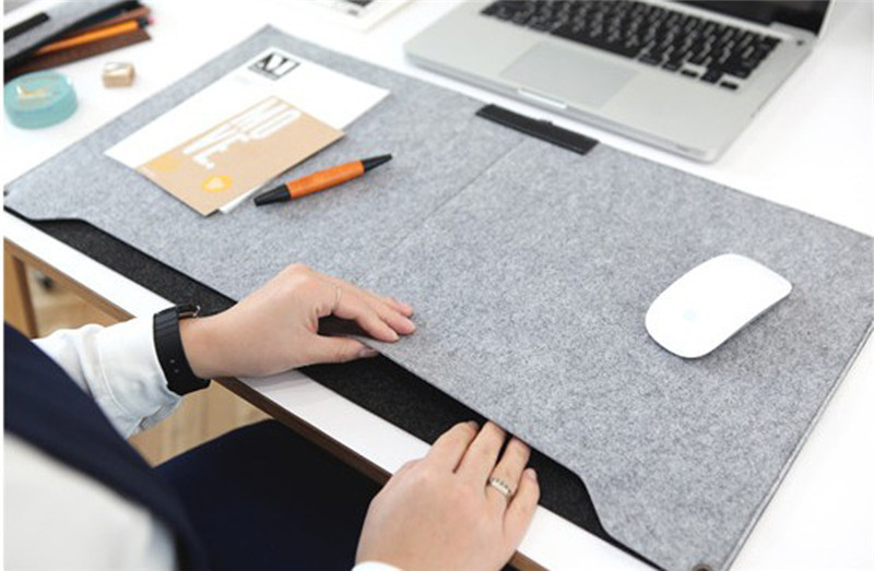 2016 New Felt Sleeve Laptop Desk Mat Fashion Durable Modern Table Felt Office Desk Mat Mouse Pad Pen Holder(China (Mainland))