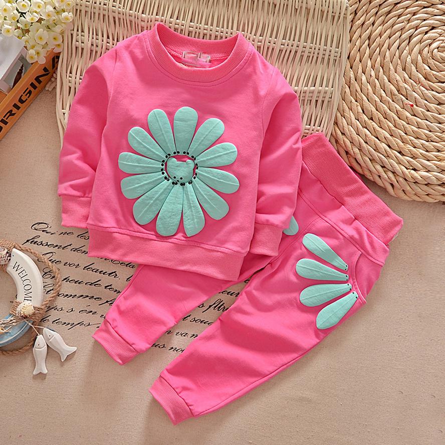 2016 spring autumn children girl clothing set baby girls sports sunflower costume kids clothing set suit(China (Mainland))