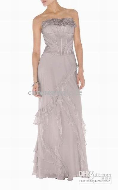 Grey Strapless Pleated Dresses Soft Silk Long Dress Party