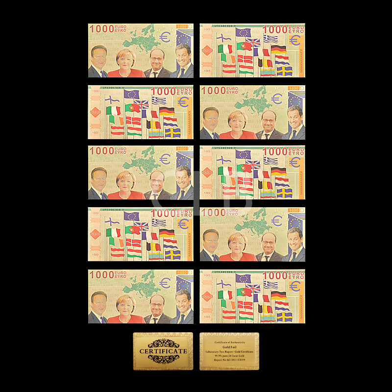 Wholesale 1000 Euro 24K Gold Banknote European Colorful Fake Money with Certificate Card for Decoration Gift 10pcs/lot(China (Mainland))