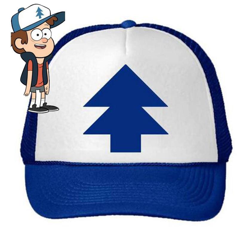 2016 Fashion Gravity Falls cap BLUE PINE TREE Trucker Hat Cartoon Trucker Caps New Curved Bill Dipper Adult Men Women(China (Mainland))