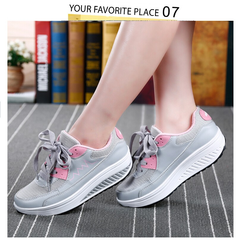 2016 Women Spring/Summer Breathable Flat Platform Casual Shoes Womens Walking Swing Shoes Woman 4.5cm Heels chaussure femme