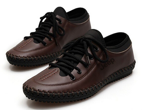New Arrivals Men Flats Genuine leather Loafers Breathable Moccasins Soft outsole Driving shoes Lace-Up Sneakers 2/5(China (Mainland))