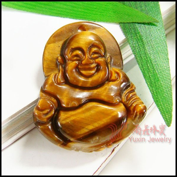Natural tiger eye stone carved buddha lucky pendant wholesale YNA54