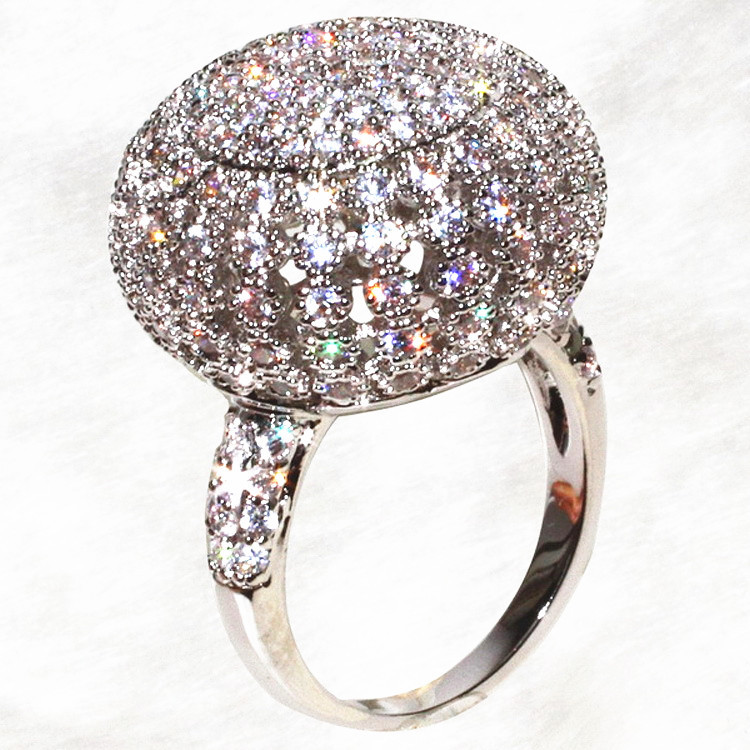 Luxury distinguished spherical full dazzling ring big ball bright rings women's accessoires(China (Mainland))