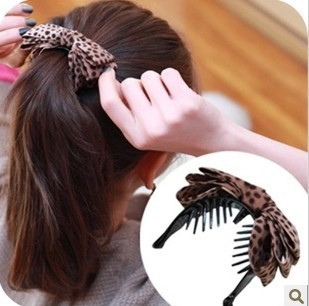 H067 South Korea Jewelry Hair Headdress Leopard Fabric Bow Grip Hair Caught!#1429(China (Mainland))