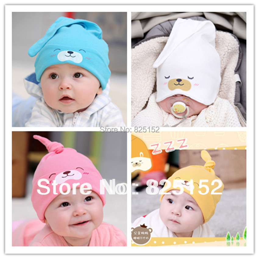 1PCS Cute Newborn Boy Girl Infant Kids Toddler Baby Sleep 100% SOFT COTTON Caps Hats 5-24M Smile Bear hat(China (Mainland))