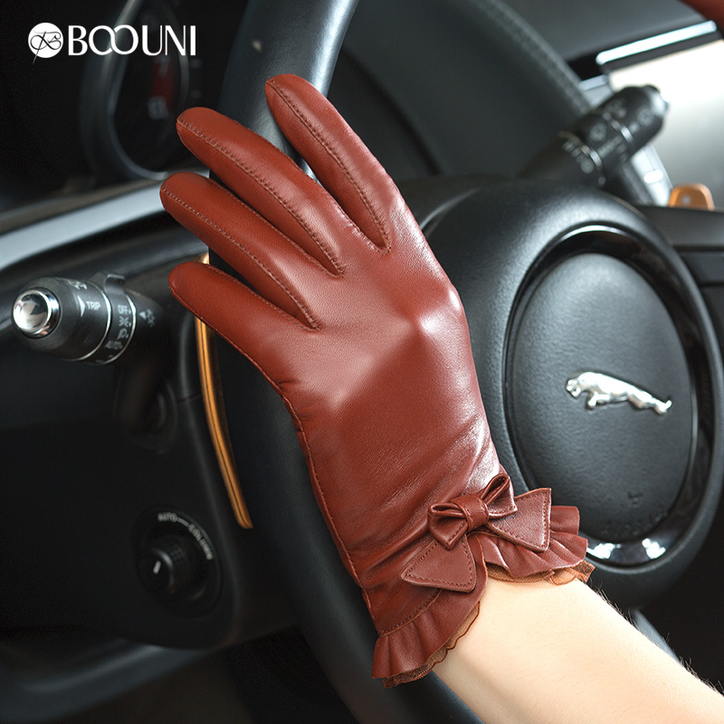 Genuine Leather Gloves Women Fashion Red Brown Short Winter Plus Velvet Thicken Bow knot Lace Real Sheepskin Driving Glove NW176(China (Mainland))