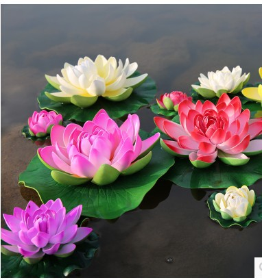Simulation lotus flower lotus flower decoration decorative water features living room decorative floral fake water lily(China (Mainland))