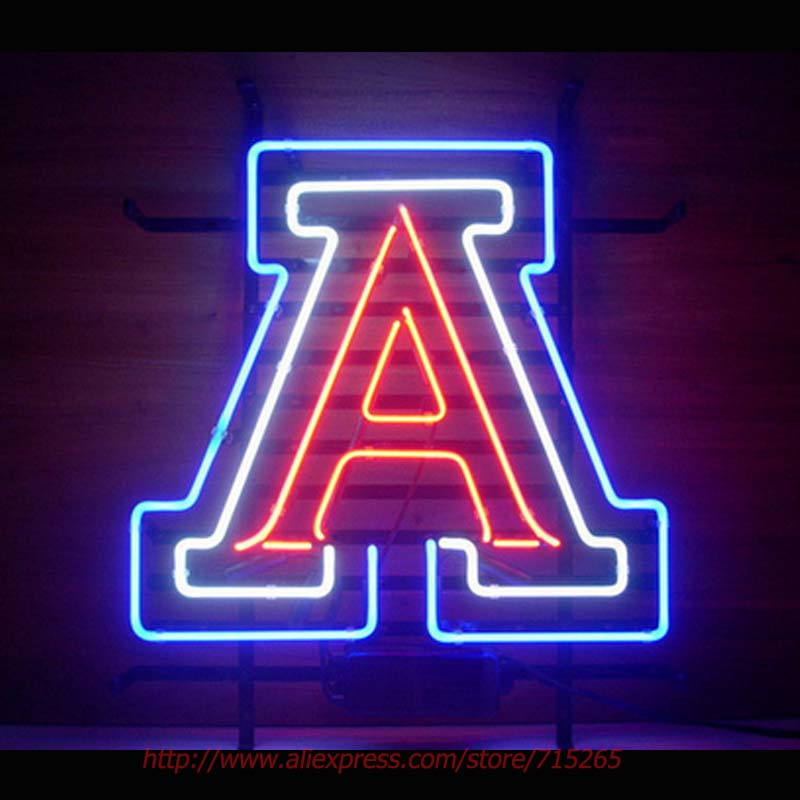 WILDCATS Letter A Neon Sign Real Glass Tube Handcraft Advertising Beer Bar Pub Neon Bulb Indoor Sport Display Sign Impact 17x14(China (Mainland))