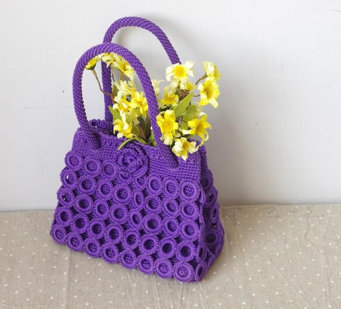 Aliexpress.com Comprar Tejido hechos a mano círculo de hilo de punto mujer bolso fresco de la mujer bolso portable 7 anillo de bolso de la bolsa interior