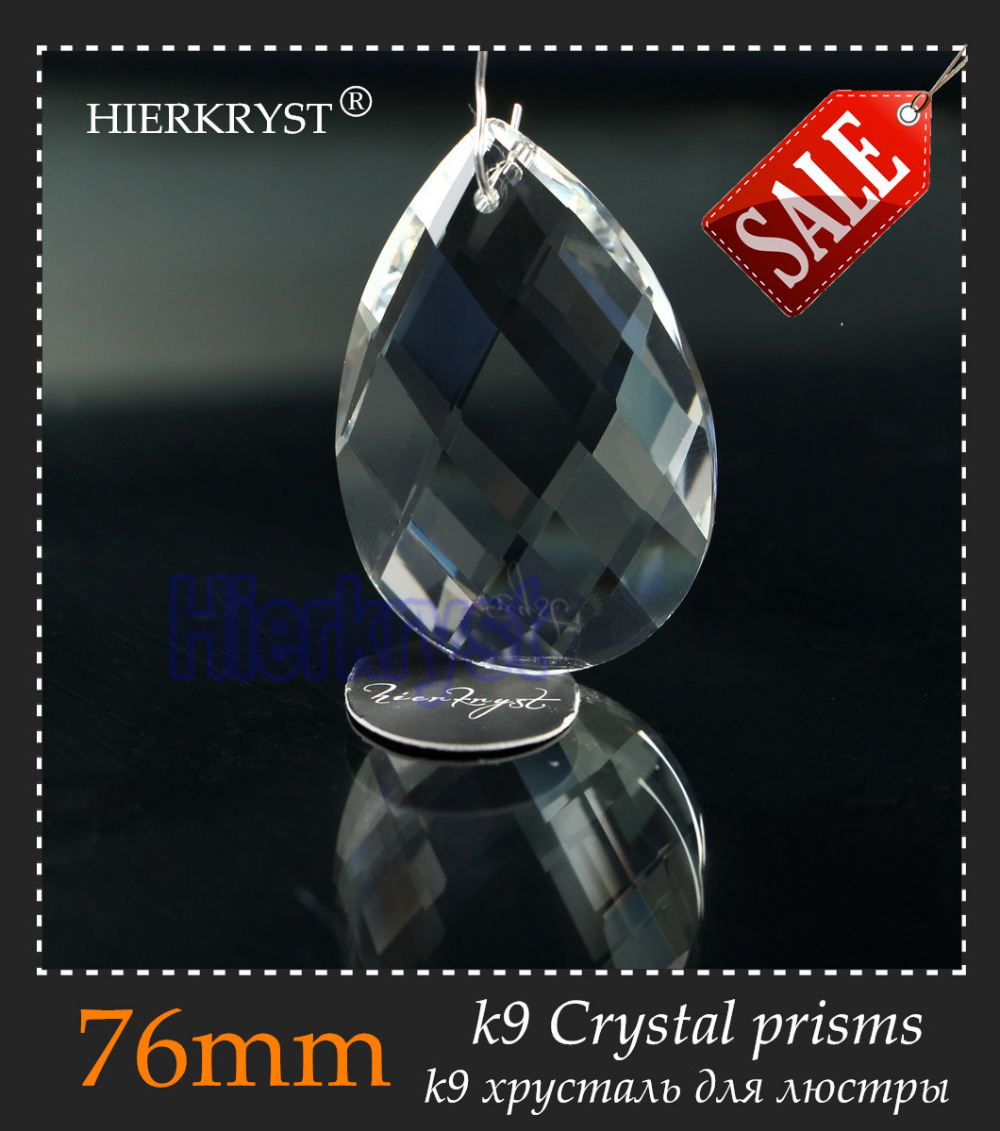 HIERKYST 2K9 Glass Crystal Prisms Pendants Chandeliers Parts Lustres Rainbow Lamp Lighting Hang Drops 76mm 3 inch #2239-3C - Beadssupplies Store store
