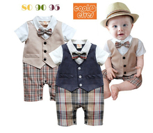 1 pcs 1-3 years old baby boys Romper clothing sets infant Gentleman suits leotard sets climb body suit(China (Mainland))