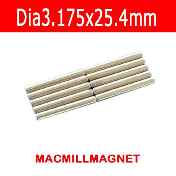Free shipping-20pcs Neodymium Stick Rod Magnet Rare Earth 3.175mm*25.4mm Round Magnetic rod(China (Mainland))